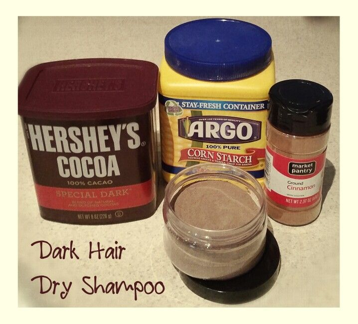 Homemade Dark Hair Dry Shampoo Recipe - Mix 3 tbsp of corn starch, 3 tbsp of Hershey's special dark cocoa powder, 1 tsp of ground cinnamon. You can make a larger batch by mixing equal parts of corn starch and dark cocoa powder and adding 1/3 that measurement in cinnamon. The cinnamon helps cut the bitter/strange smell of the dark cocoa powder and also aids in preserving mixture. Put in an airtight jar/container and apply to roots, when needed, evenly with a large blush brush. Then work from…