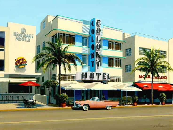 Colony Hotel, Miami Beach, Florida -  Painting by Frank Dalton
