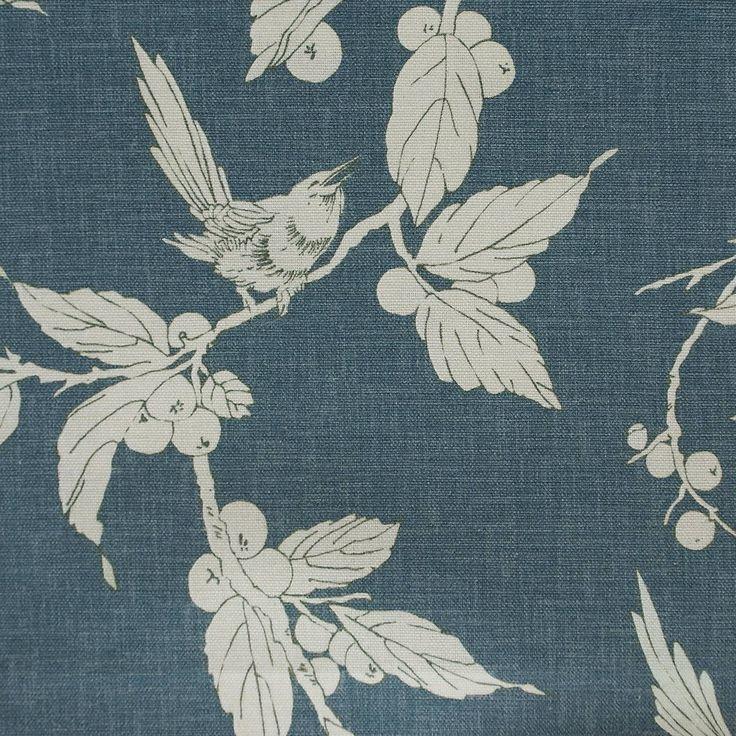 Birdsong Fabric - Orion Blue (BIRDSONG3) - Wemyss Eclectic Fabrics Collection