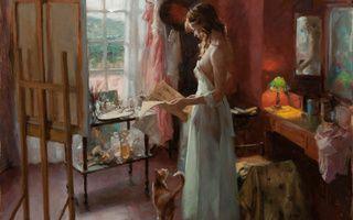 Обои vicente romero, арт, кошка, Картина, простынь, девушка