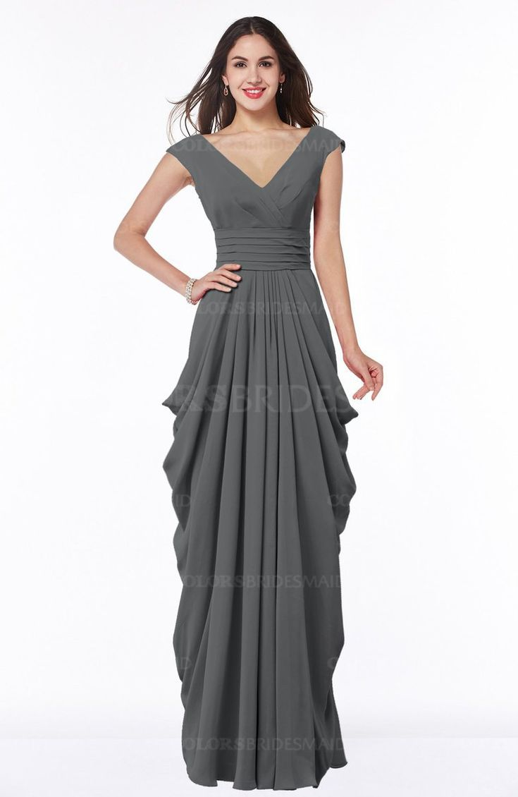 Grey Mature V-neck Short Sleeve Chiffon Floor Length Plus Size Bridesmaid Dresses (Style D46444)
