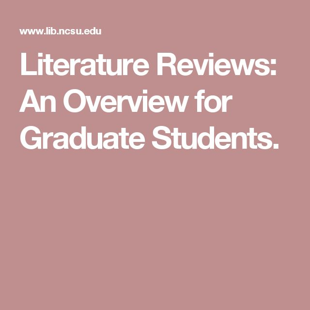 Literature Reviews: An Overview for Graduate Students.