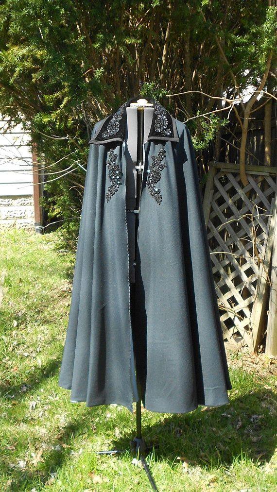 Phantom Of The Opera Cloak Mens Wedding Cloak Evening Cloak Renaissance Costume Black Circle Cloak Masquerade Costume Opera Cloak Masquerade Costumes Renaissance Costume Opera Dress
