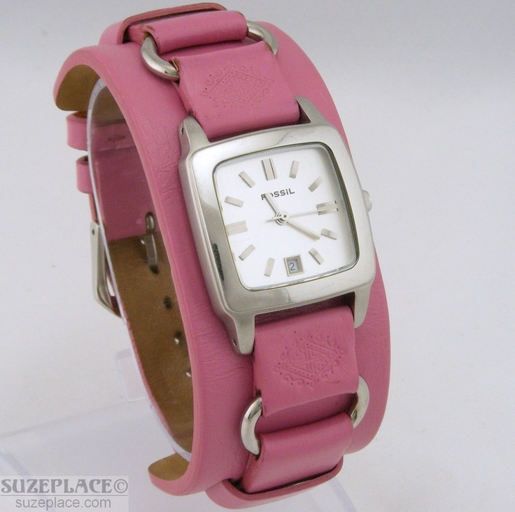 FOSSIL LADIES WATCH PINK LEATHER BAND SILVER TONE CASE WITH DATE GENTLY USED SuzePlace.com