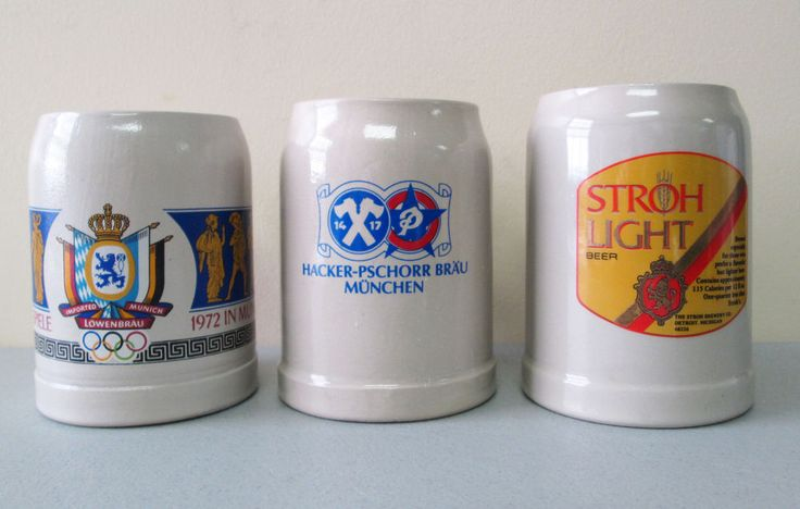 German Beer Stein Mug Set Lot 3 Lowenbrau Olympische Spiele Olympics Stroh Light