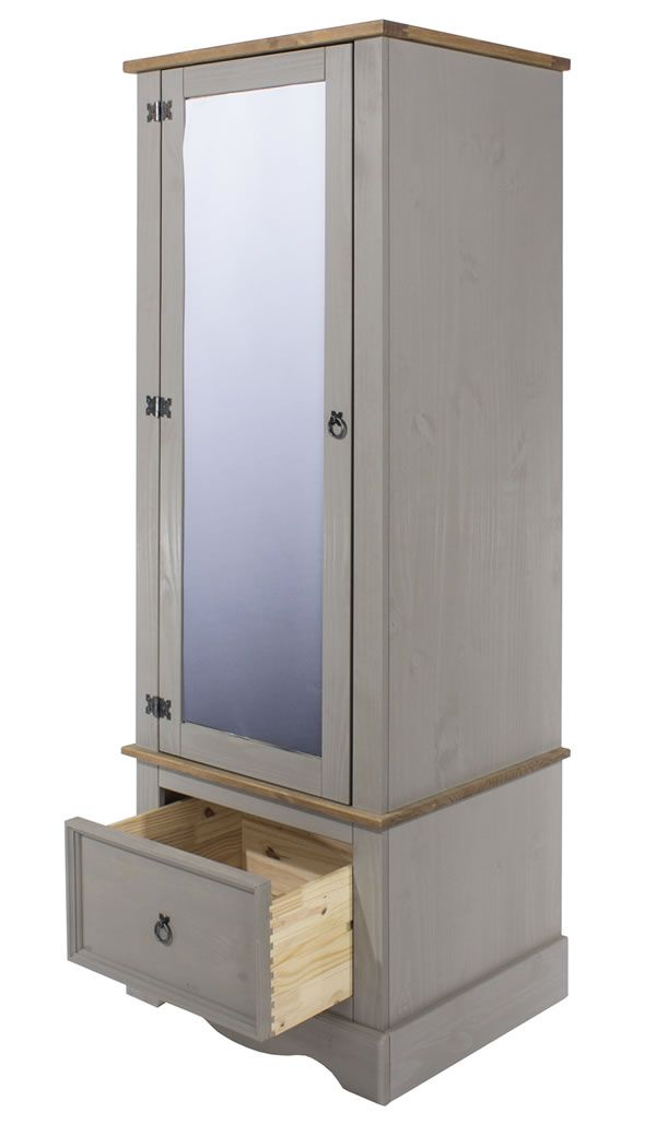 Best Coson Grey Pine Single Small Armoire Wardrobe With 400 x 300