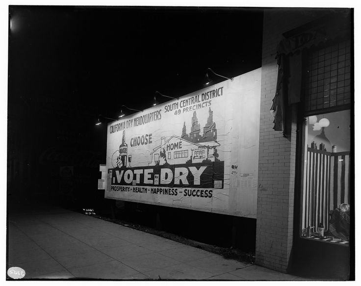 "FORM and LANDSCAPE-Night shot of a Prohibition era political billboard ""Vote Dry"" - South Central Los Angeles G. Haven Bishop 1916"