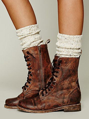 Brown Leather Combat boots elfsacks