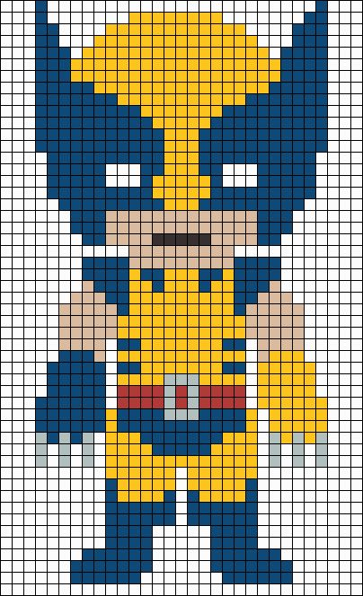Wolverine X-Men  perler bead pattern