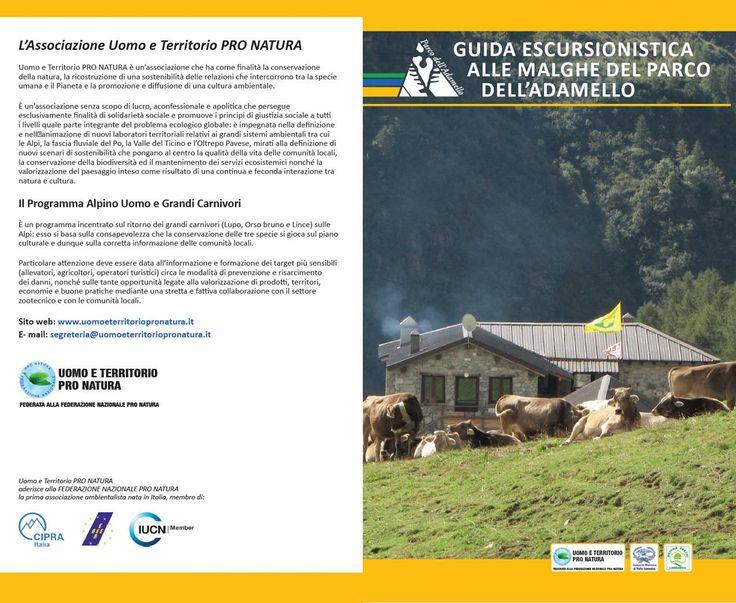 Copertina fronte e retro della Guida escursionistica alle malghe del Parco dell'Adamello (www.uomoeterritoriopronatura.it)