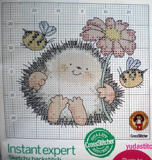 Hedgehog cross-stitch Egeltje met bijtjes borduurpatroon