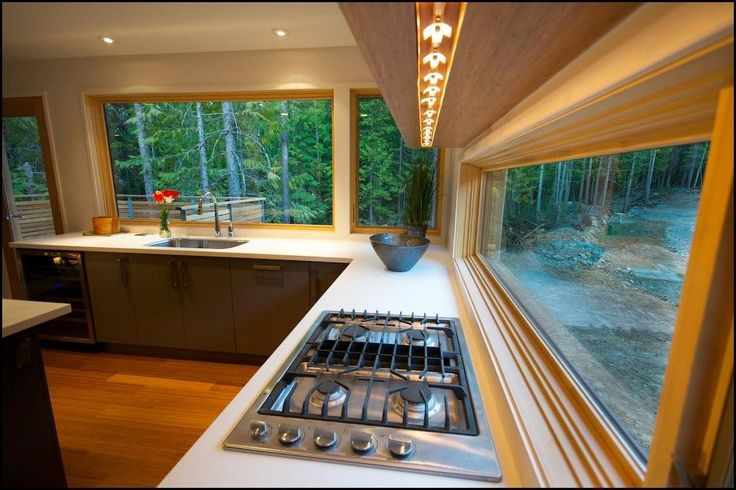 This kitchen happens to be in a re-purposed cargo container, but I'd take it in any home!