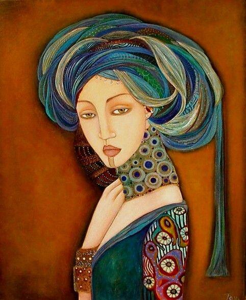 Faiza Maghni, Portret van vrouw, Parijs. Deze hedendaagse kunstenares is van origine Algerijns maar woont en werkt in Parijs. Haar vrouwenportretten worden geinspireerd door Perzische miniaturen, ethnische sieraden en moderne kunst.