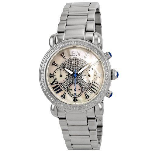 """JBW Women's JB-6210-D """"Victory"""" Pearl Stainless Steel Diamond Watch JBW. $226.99. Water-resistant to 165 feet (50 M). Highest Standard Quartz Chronograph Movement. Diamond accented bezel: 16 round-cut white diamonds with 0.16 CTW. Crystal accented center with 3 sub dials, stylish design and roman numeral hour indicators on a white mother-of-pearl dial. Durable all stainless steel case and link bracelet with deployment clasp"""