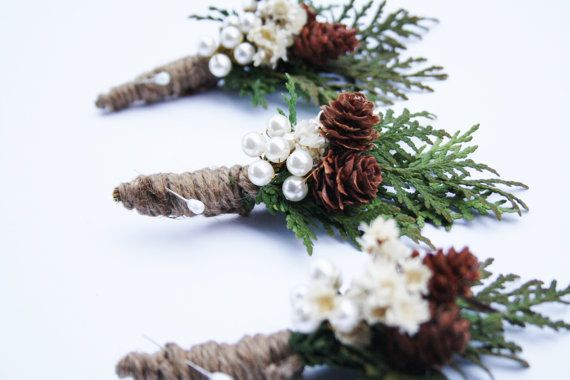 CUSTOM LISTING winter wedding boutonniere by WildRoseAndSparrow