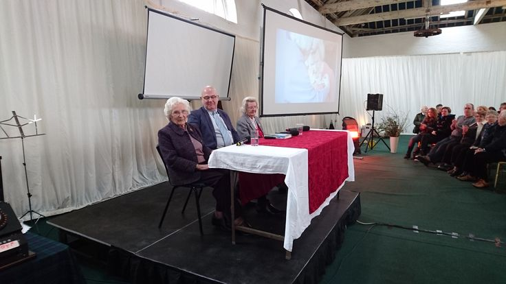Bletchley Park veterans Charlotte (Betty) Webb & Mary Every take to the stage for their interview with Michael Smith.