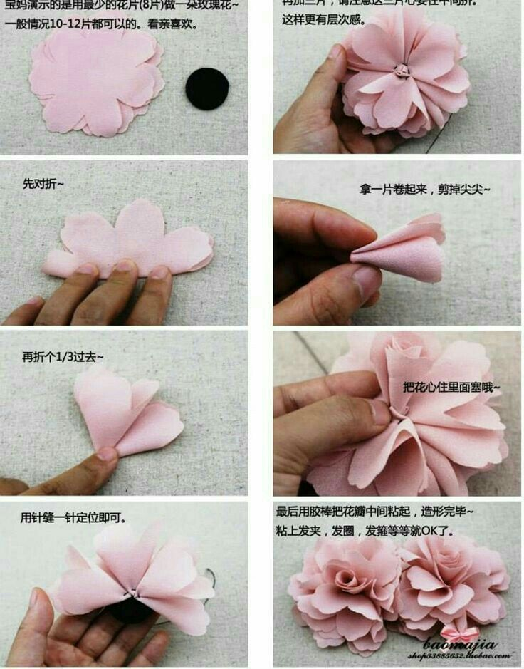Pin By Tulipan On Para Mi Lunitafresita Fabric Flowers Diy Fabric Flowers Ribbon Crafts Diy