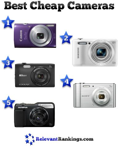 Reviews of the top 5 best cheap digital cameras priced under $100 as rated by relevantrankings.com