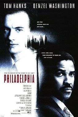 Philadelphia : 1993  -Tom Hanks and Denzel Washington . One of my most favorite movies... First movie about HIV/AIDs and Homo-sexuality... I was in Miami at that time and lost one of colleagues from AIDS. He was homosexual...It seemed AIDS might kill  all human-beings at that time.. It was so scary.
