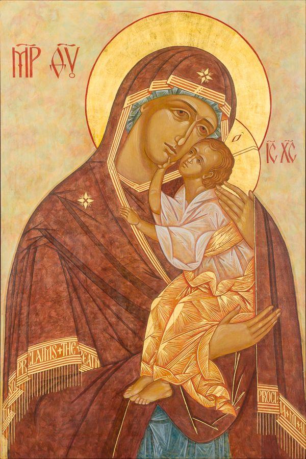 "Yaroslavl Mother of God, through the hand of Kathy Sievers, St. Charles Parish, Burlington, WA, 42 x 63"""