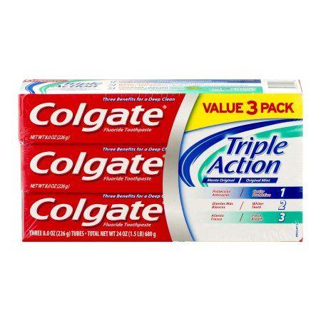 Colgate Triple Action Original Mint Fluoride Toothpaste, 8 oz, 3 ct, Multicolor
