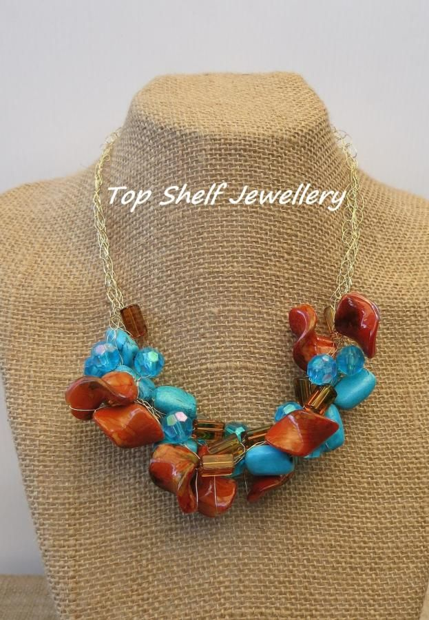 Turquoise and Brown Crochet Wire and Beaded Necklace - Jewelry creation by Top Shelf Jewellery & Accessories