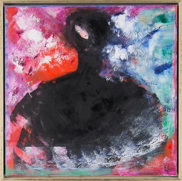 """Emilia Linderholm - """"Svarta madame"""" finns att köpa hos oss på Galleri Melefors / is available for purchase at Galleri Melefors #emilialinderholm #emilia #linderholm #art #konst #tillsalu #forsale #woman #dancing #music #darkness #light #black #colors #inredning #oljemålning #målning #olja #tavla #dekoration #kvinna #musik #dans #mörk #ljus #svart #fantasi #fridfull #gallerimelefors #melefors"""