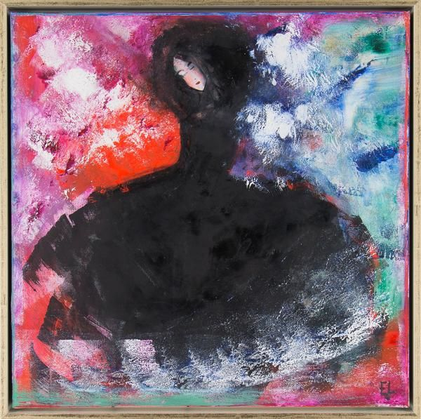 "Emilia Linderholm - ""Svarta madame"" finns att köpa hos oss på Galleri Melefors / is available for purchase at Galleri Melefors #emilialinderholm #emilia #linderholm #art #konst #tillsalu #forsale #woman #dancing #music #darkness #light #black #colors #inredning #oljemålning #målning #olja #tavla #dekoration #kvinna #musik #dans #mörk #ljus #svart #fantasi #fridfull #gallerimelefors #melefors"