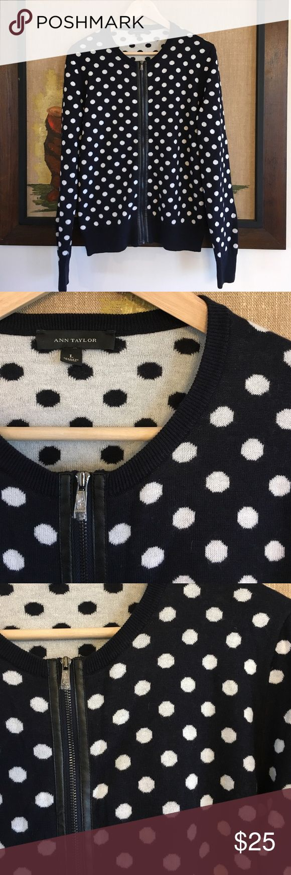 NWOT Ann Taylor Zip Up Cardigan Adorable navy and cream polka dot zip up Cardigan by Ann Taylor with faux leather zipper accent. New, never worn, still has protective cover over zipper. Ann Taylor Sweaters Cardigans