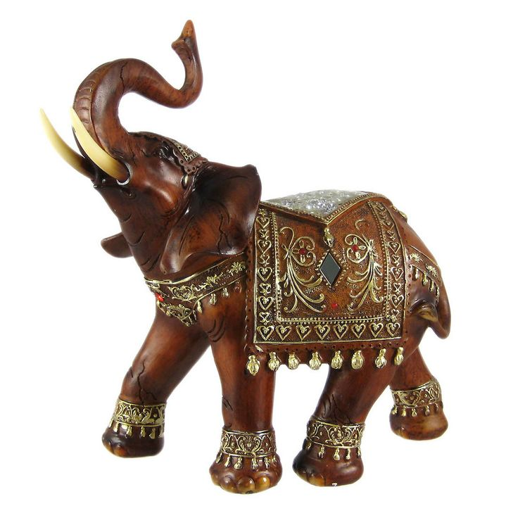 Beautiful Wood Finish Indian Elephant Statue Figure