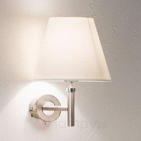 Niklowa lampa ścienna LILLY z abażurem z materiału