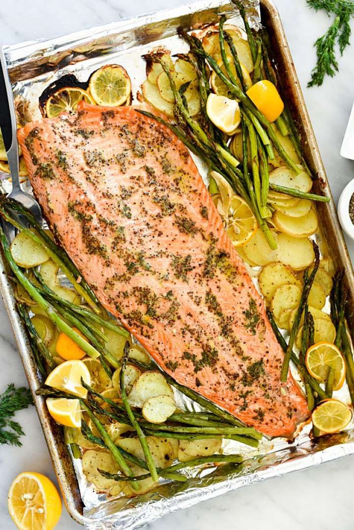 If you need to get more fish in your life, try this tangy, fresh mustard salmon with asparagus and p... - Foodie Crush