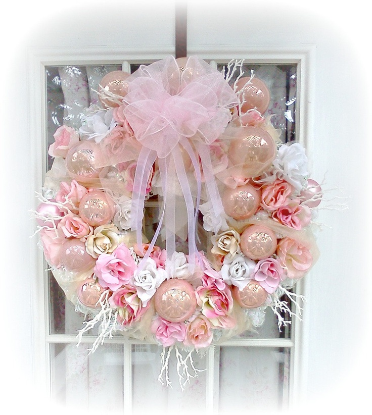 shabby chic rose pink white christmas spring wreath french farmhouse marie antoinette victorian ornament sct