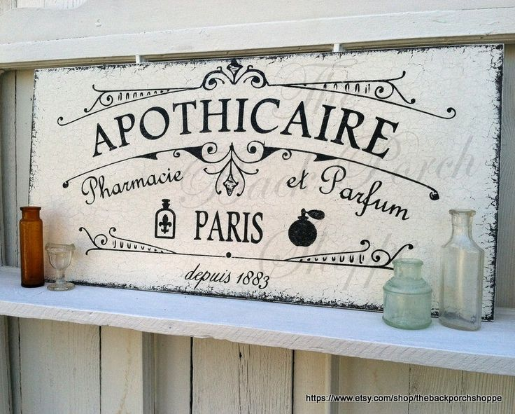 APOTHICAIRE, APOTHECARY, Pharmacy, First Aid Signs, Perfume, French Signs, Paris Signs, Bathroom Signs by thebackporchshoppe on Etsy https://www.etsy.com/listing/176565489/apothicaire-apothecary-pharmacy-first