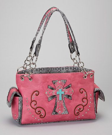 Take a look at this Hot Pink & Turquoise Shadow Cross Shoulder Bag by Rhinestone Junkie on #zulily today!