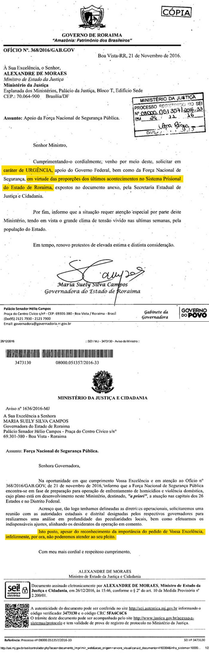 Documento desmente ministro sobre pedido de ajuda a Roraima - Jornal O Globo