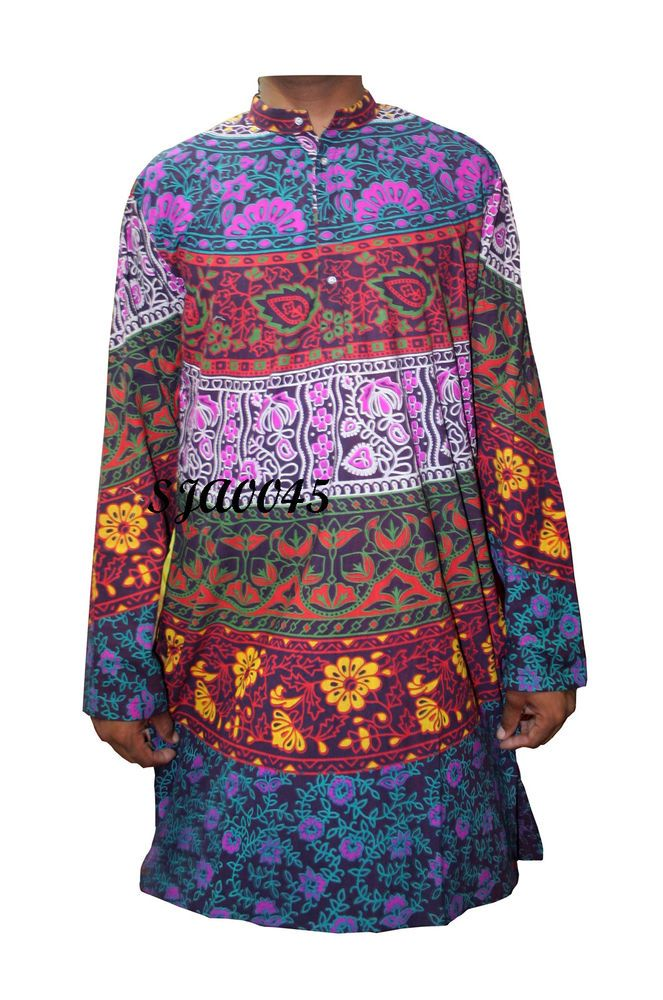 a4c8863fa96 Indian Men's 100% Cotton Tunic Kurta Shirt Mandala Print Plus Size 4xl 5xl # Handmade #ButtonFront