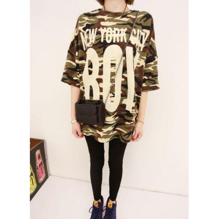 カモフラージュ/ロングTシャツ/tシャツ 半袖 Tシャツ レディース 半袖迷彩 ロングカットソー 4