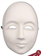 PLAIN WHITE FACE MASK - Blank Craft Masks - PAPER MACHE