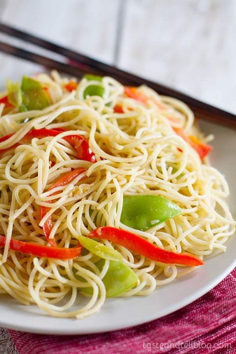 Easy Lo Mein Recipe - easy meatless meal or side dish.