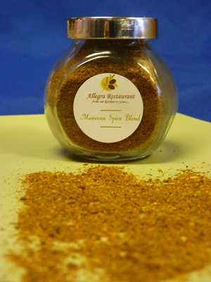 12.00    Our own Moroccan Spice blend as enjoyed on the veal chops and other dishes Now available in 90g glass jars for $12.00 at the Restaurant - you also receive two recipes from our chef!