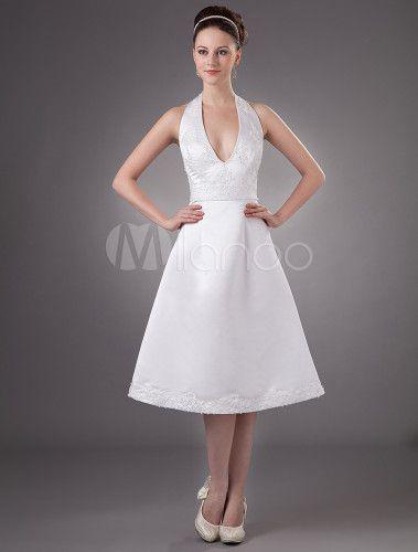 Mini Robe de mariée de V-col et longe de ceinture haute en satin et gaze - Milanoo.com