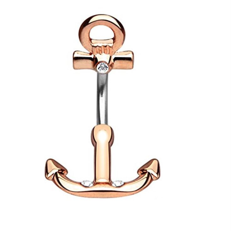 BodyJ4You® Ship Anchor Rose Goldtone Belly Button Ring