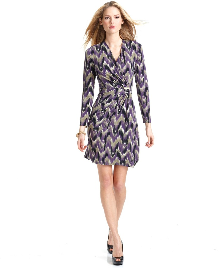 MICHAEL Michael Kors Dress, V Neck Long Sleeve Printed Wrap Hardware A Line