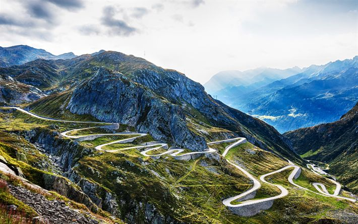 Download wallpapers Gotthard Pass, mountain serpentine, 4k, Alps, Switzerland, mountain road, Ticino