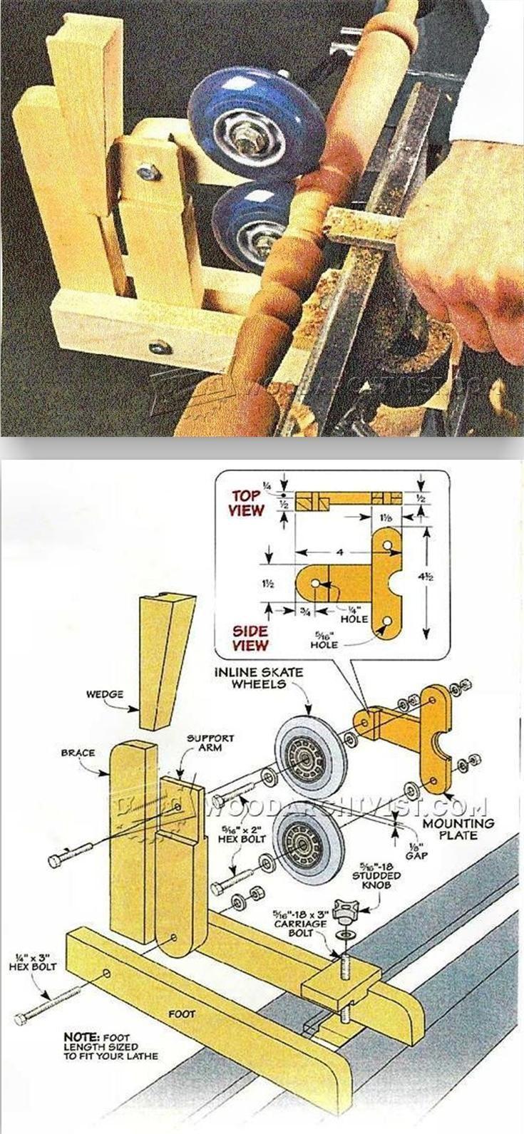 Wood Lathe Steady Rest Plans - Lathe Tips, Jigs and Fixtures   WoodArchivist.com