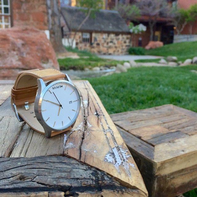 White x Tan Leather Watch.
