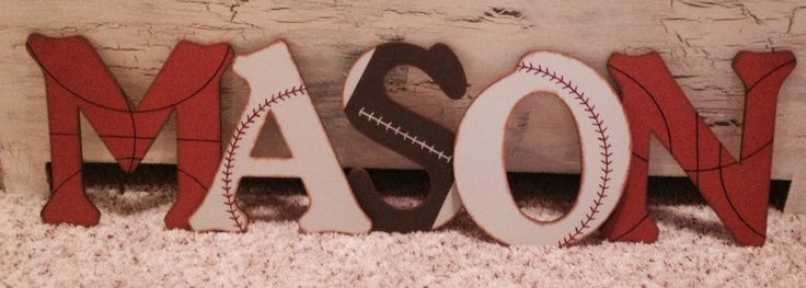 Rustic Sports Wall Letters Boys Room - Baseball Nursery - Basketball Nursery - Football Nursery - Sports Nursery - Customize by AJsPrivyCreations on Etsy