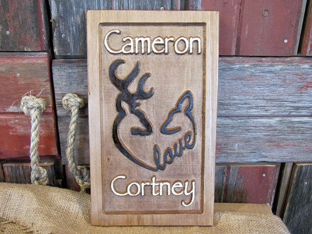 Personalized Couples name Sign CARVED Custom Wooden Signs Browning Deer Man Hunt Cabin Heart Love Wedding Gift Valentines Anniversary Gift