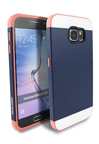 Samsung Galaxy S6 Case, Kaleidio [Colour Series] Multi Tone Dual Layer Hybrid Case Protective Cover for Samsung Galaxy S6 S 6 G920 (AT&T / T-Mobile / Verizon / Sprint / U.S. Cellular) [Package Includes a Overbrawn Prying Tool] - Retail Packaging [Navy Blue/Coral Pink]